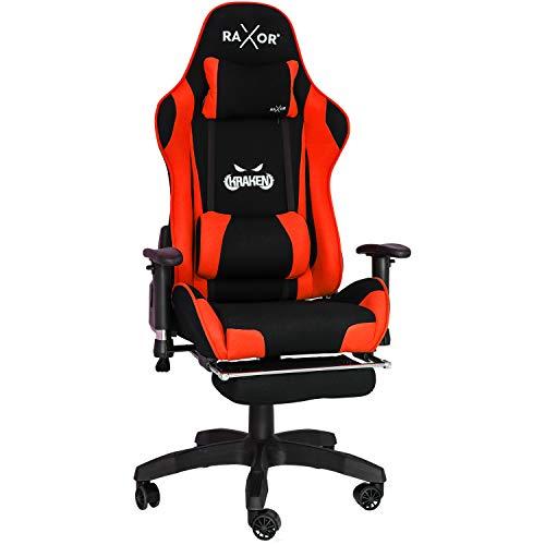 RAXOR Racing Hochwertiger Bürostuhl Gaming Stuhl,Ergonomischer höhenverstellbar Schreibtischstuhl Chefsessel Computerstuhl Drehstuhl mit einstellbaren Armlehnen, PU Sportsitz Racing Chair(Rot)