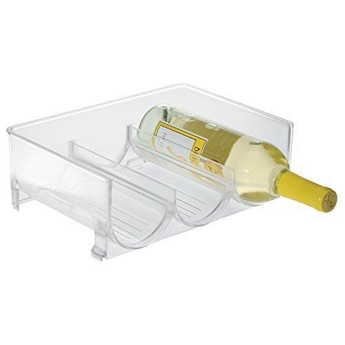 mDesign casier à bouteilles pour réfrigérateur ? range bouteilles empilable pour 3 bouteilles ? rangement pour bouteille de vin et autres boissons ? transparent