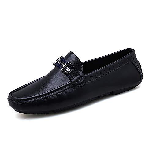 Apragaz Fashion Driving Loafer for Men, Penny Oxfords in Pelle Leggera Scarpe Casual da Barca con Nodi in Metallo Antiscivolo (Color : Nero, Dimensione : 43 EU)