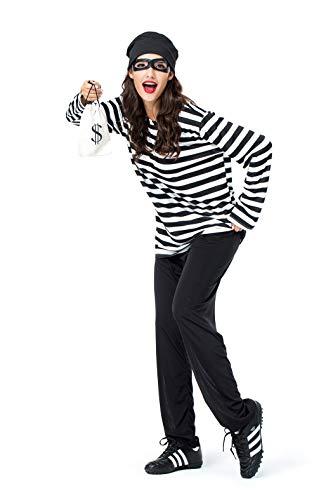 Frauen Gefangener Polizei Paare Shirt Halloween Cosplay Kostüm