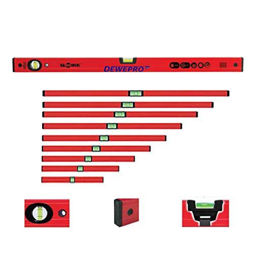 DEWEPRO 9-tlg. Profi-Set - Aluminium Wasserwaage - rot lackiert - 9-teilig - Längen in cm: 30, 40, 50, 60, 80, 100, 120, 150 und 200 - Messtoleranz: 0,5mm/m - Aluwasserwaage Aluminiumwasserwaage