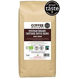 Grains de café péruvien, biologique, fairtrade Coffee Masters 1kg - Lauréat du Great Taste Award 2018