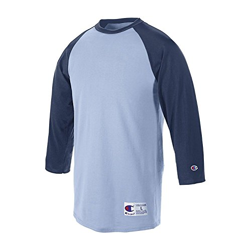 Champion Men's Raglan Baseball T-Shirt_Light Blue/Navy_M (Heather Raglan-t-shirt Navy Blue)