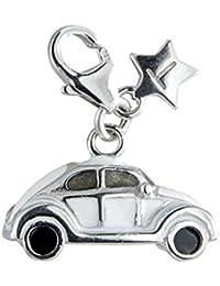 Tingle SCH115 - Cuenta de plata de ley con gancho, diseño de coche VW Beetle