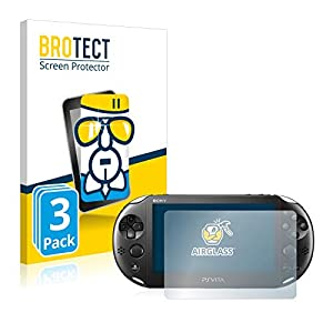 brotect Panzerglas Schutzfolie kompatibel mit Sony PCH-2000-Serie Playstation PS Vita Slim Touchpad (3 Stück) – AirGlass, 9H Härte, Anti-Fingerprint