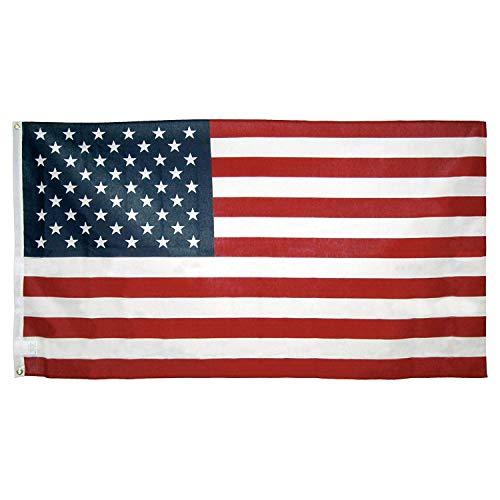LILITRADE Amerikanische Flagge 150 * 90cm Applizierte Sterne und Roped-Überschrift 4. Juli US-Unabhängigkeitstag-Flagge Wetterbeständige perfekte Dekorationen für Yards im Freien -