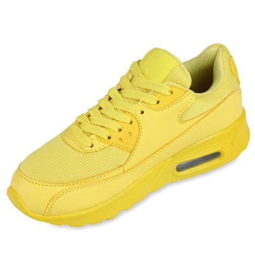 Damen Herren Unisex Sportschuhe Neon Runners Laufschuhe Sneakers Yellow