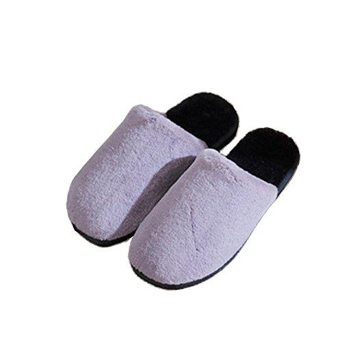 TELLW Pantoufles de Coton Femme Homme Hiver Pantoufles Chaudes Couples Pantoufles Chaussures DHiver femmes gris