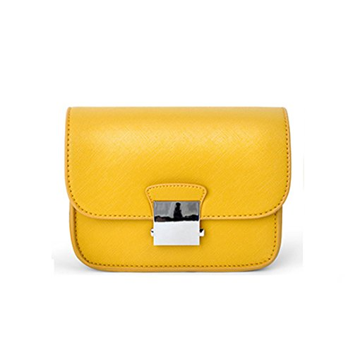 Maod Damen PU Leder Mini Schultertasche Stickerei Weaving Schulter Gürtel Umhängetasche Einfarbig Henkeltaschen Kleine Messenger Tasche (Gelb)