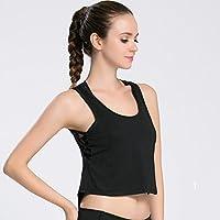 Deporte De Las Mujeres Fitness Navel Tanque De Secado Rápido Entrenamiento Profesional Yoga Fitness Sports Loose Smock,Black,L