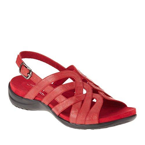 Easy Street Visage Breit Offener Spitze Leder Slingback Sandale Red