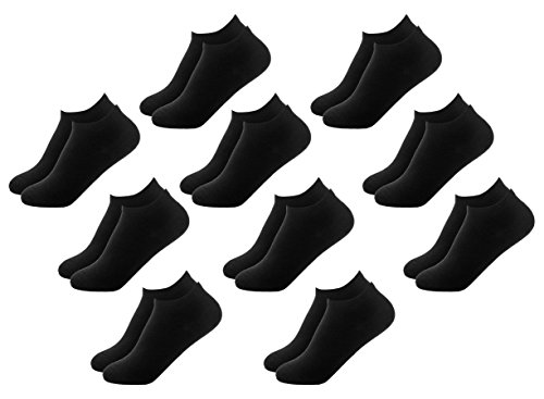FOOTNOTE 10 Paar Sneaker Socken Damen oder Herren Unisex Schwarz in 39 40 41 ()