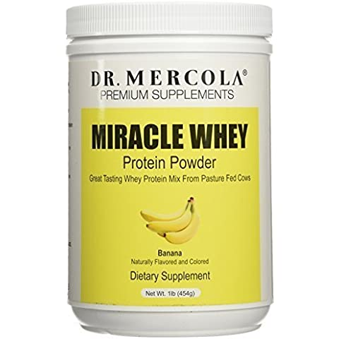 Dr. Mercola Miracle Whey Protein Powder Banana - Great Tasting Whey Protein Mix - Naturally Flavored And Colored - Certified GMO, Pesticide, And Chemical-Free - 1 lb Jar by Dr. Mercola - 1 Lb Banana