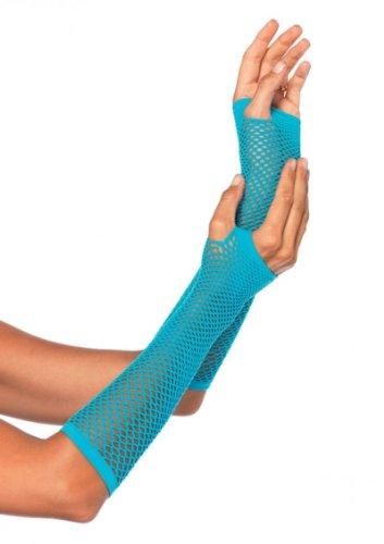 Leg Avenue Damen Triangel Netzhandschuhe Fingerlos in neon blau Einheitsgröße (Lange Fischnetz Neon Handschuhe)