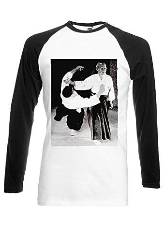 Martial Arts Sensei Aikido Tumblr Japanese Sensei Black/White Men Women Unisex Long Sleeve Baseball T Shirt-XL