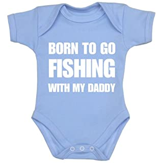 Babyprem Baby Born to go Fishing with Daddy Clothes Bodysuit NB-24 mth SKY 0-3