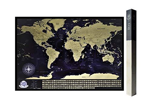 Detaillierte Rubbel Weltkarte Mit Fahnen / XXL Personalisiertes Poster Zum Reisen Zu Verfolgen/ Original Geschenk Für Den Reisenden/ Einzigartiges Design Von 2Maps (Schwarz/Gold 84 x 57cm)