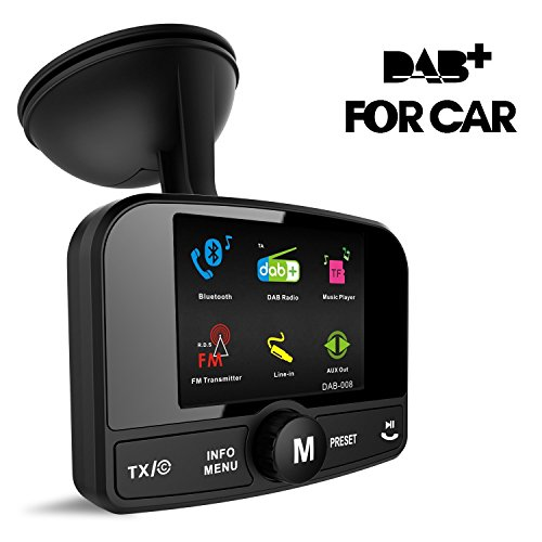 Cootway Tragbare Car DAB Digital Radio Adapter Mit FM Transmitter / Bluetooth Freisprechen Call / Aux / TF Musik zu Auto Stereo anlage (2.4