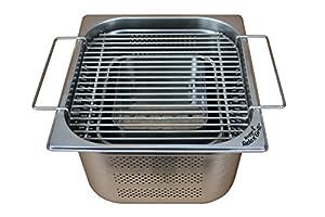 Rogge´s RelaxGrill - Einbaugrill aus Edelstahl für Gartentisch und Außenküche - gemeinsam Essen am Holzkohlegrill, wie beim Raclette oder Fondue mit Freunden oder der Familie