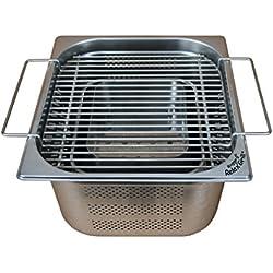 Rogge S Relax Grill®–Barbecue da incasso in acciaio inox per tavolo da giardino e esterno cucina–gemeinsam magnetica AM barbecue a carbonella, come quando Raclette o fondue con gli amici o la famiglia