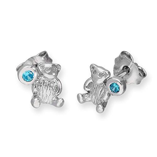 Orecchini a orsacchiotto in argento Sterling e pietre CZ portafortuna color acquamarina - Marzo