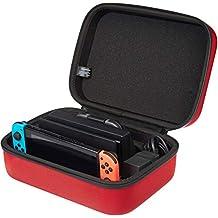 AmazonBasics - Funda de viaje y almacenamiento de juegos, para Nintendo Switch - Rojo