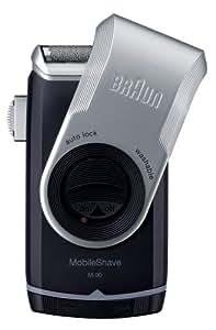 Braun MobileShave M-90 elektrischer Rasierer / Rasierapparat für die Trockenrasur auf Reise und unterwegs, silber/blau