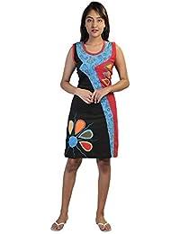 Robe sans manches multicolore avec des impressions de fleurs colorées et broderie