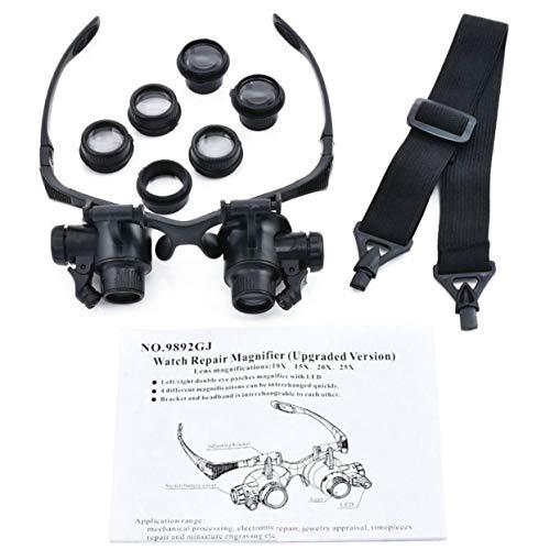Tree-on-Life LED-Kopflupe Doppel-Brillen Lupenlinse Juwelier Uhr Reparatur Messung mit LED-Lampe