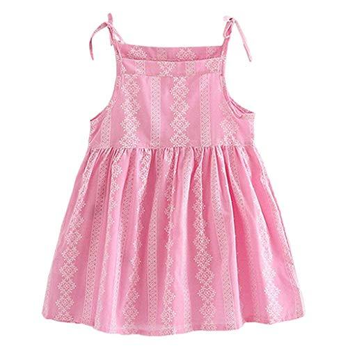 (YWLINK MäDchen Volltonfarbe Klassisch Sling Sommer ÄRmellos Kleiden Blume Gestreift Prinzessin Partykleid Sommerkleid Kleidung(Rosa,140))