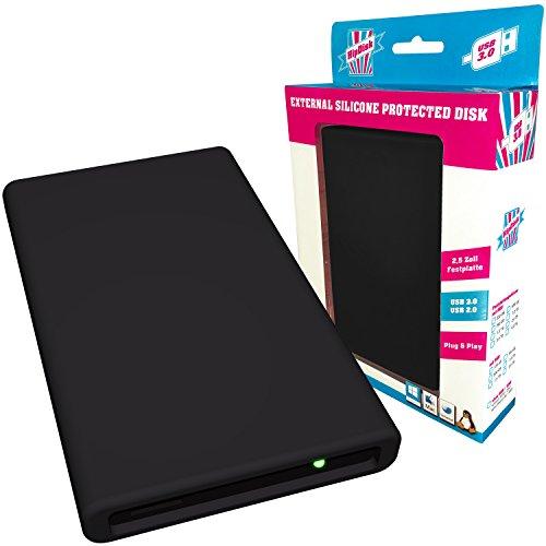 HipDisk externe Festplatte 500GB (6,4 cm (2,5 Zoll), USB 3.0) HD-SW-500 mit austauschbarer Silikon-Schutzhülle stoßfest schwarz