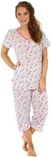 Sleepyheads Women's Sleepwear Cotton Short Sleeve V-Neck Shirt and Capri Pyjama Set