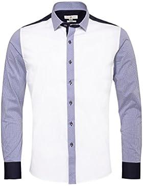 Almsach Trachtenhemd Slimline Alois Zweifarbig in Weiß und Blau inkl. Volksfestfinder