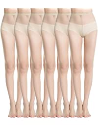 f7ddc00aeee7c MANZI Women's 6 Pairs Black Nude Footed Sheer Tights Pantyhose 20 Denier