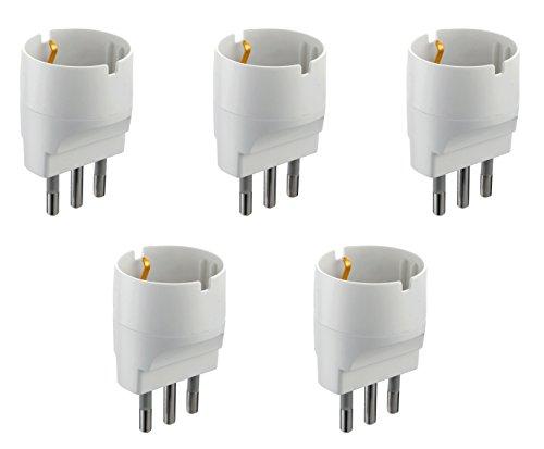 Electraline 92291 Set 5 Adattatori da Schuko a Spina Grande 16A, Bianco, Confezione da 5