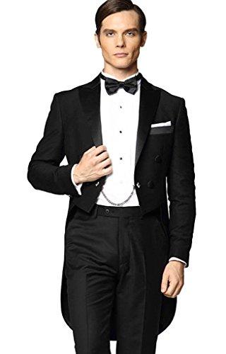 MYS da uomo personalizzata picco satinato con coda lunga-Coat Suit Pants Set Nero Black 40 Regular