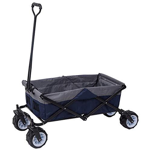 WOLTU Bollerwagen faltbar Handwagen Strandwagen mit 4 Rollen für den Garten Camping 80 kg belastbar TW001blg