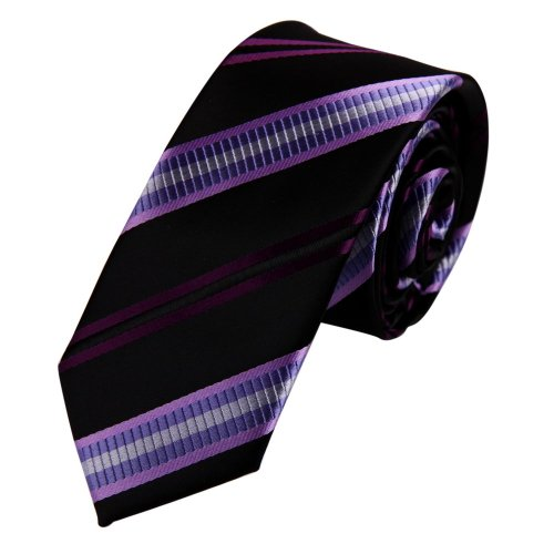 PS1131 Fitness Moda viola sottile misura legame di corrispondenza Presente Box Set Stripes Tie Handmade (Ombra Stripe Tie)