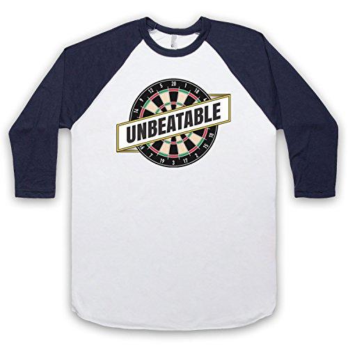 Darts Unbeatable Darts Slogan 3/4 Hulse Retro Baseball T-Shirt Weis & Ultramarinblau