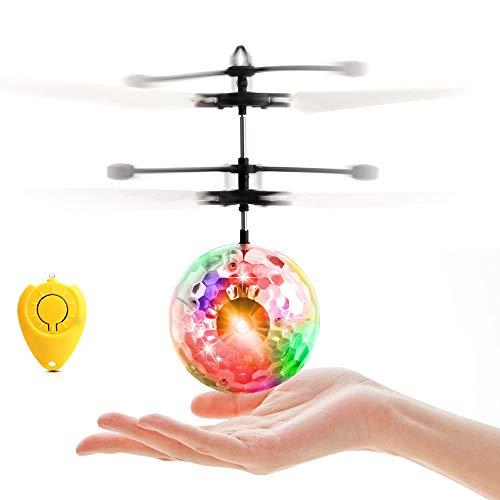 Eyscoco Fliegender Ball,Infrarot-Induktions RC Fliegender Ball Fliegendes Spielzeug Hubschrauber,Drohne RC Flugzeug Ball Mit Bunt Leuchtendem LED-Licht Und Fernbedienung für Kinder Jungen Und Mädchen