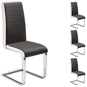 Lot de 4 chaises de salle à manger EVELYN piètement chromé revêtement synthétique gris et blanc