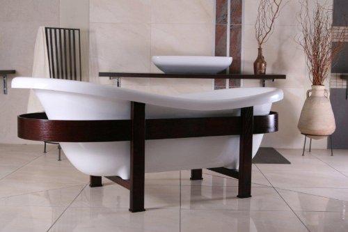 Casa Padrino Freistehende Luxus Badewanne Jugendstil Toscane 1675mm Weiß/Holzgestell Braun - Antik Stil Badezimmer