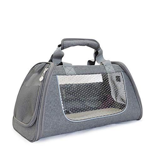 Haustiertragetasche Pet Bag Outing Einzelne Schulter tragbare Reisetasche mit tragbaren Cat Cage Dog Box Pet Rucksack Transparente Tragetasche (Color : Gray, Size : L) -