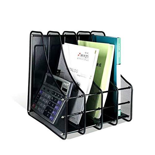 AFDK Scaffale per documenti in rete con 4 scomparti, divisori per libri, cartelle, ripiani in metallo, per la casa e l'ufficio, ripiano verticale