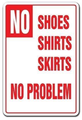 WallAdorn No Shoes Shirts Skirts No Problem Pool Spa Backyard Swim Eisen Poster Malerei Blechschild Vintage Wall Decor für Cafe Bar Pub Home -