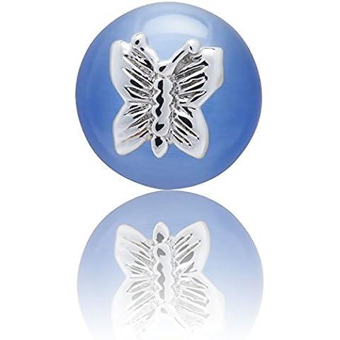 Cielo Blu Vetro fibra ottica farfalla semplicemente metallo Lapel Pin