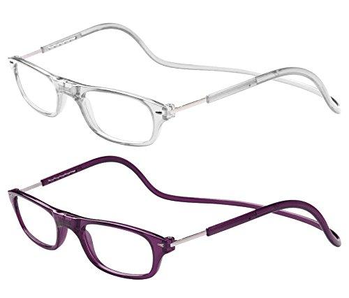 TBOC Pack: Gafas de Lectura Presbicia Vista Cansada – (Dos Unidades) Graduadas +2.00 Dioptrías Montura Transparente y Morada Oscura Hombre Mujer Plegables Lentes Aumento Leer Ver Cerca Cuello Imán