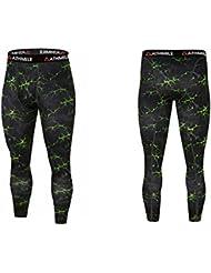 kulsao de compresión para hombre Lightning recortada pantalones pantalones Sexy Tight Pantalones elástica medias casual secado rápido Leggings, verde fluorescente