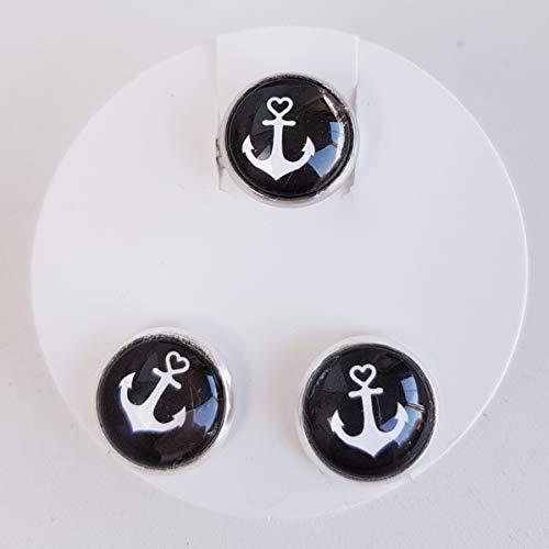 Schmuckset Ohrring mit Ring Anker maritim Modeschmuck Cabochon 12mm