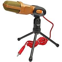 Lasund Sound-Microfono a condensatore professionale stereoscopico con supporto per Laptop e MSN, Skype, QQ, registrazione, colore: nero oro